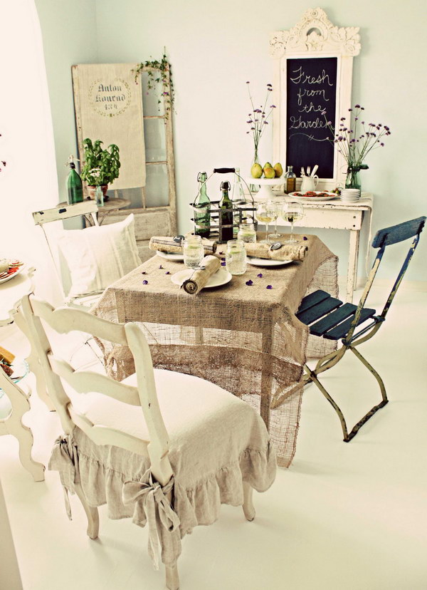 Simply And Beautiful Burlap For Shabby Chic Decoration.