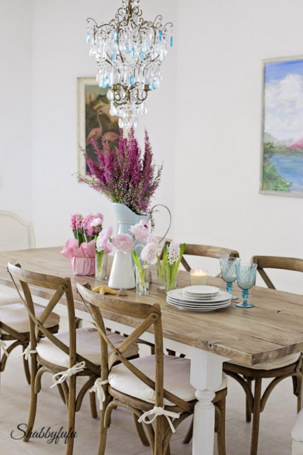 Shabby Chic Dining Room With Beautiful Chandelier.