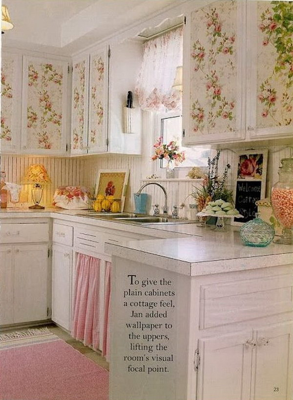 Shabby Chic Kitchen Wallpapered Cabinets