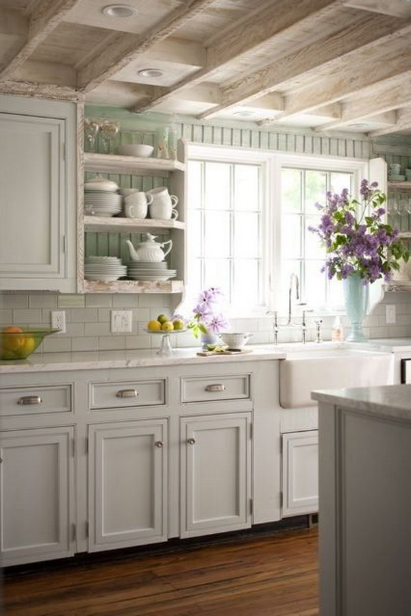 Exposed Beam Ceilings with Soft Color Cabinets
