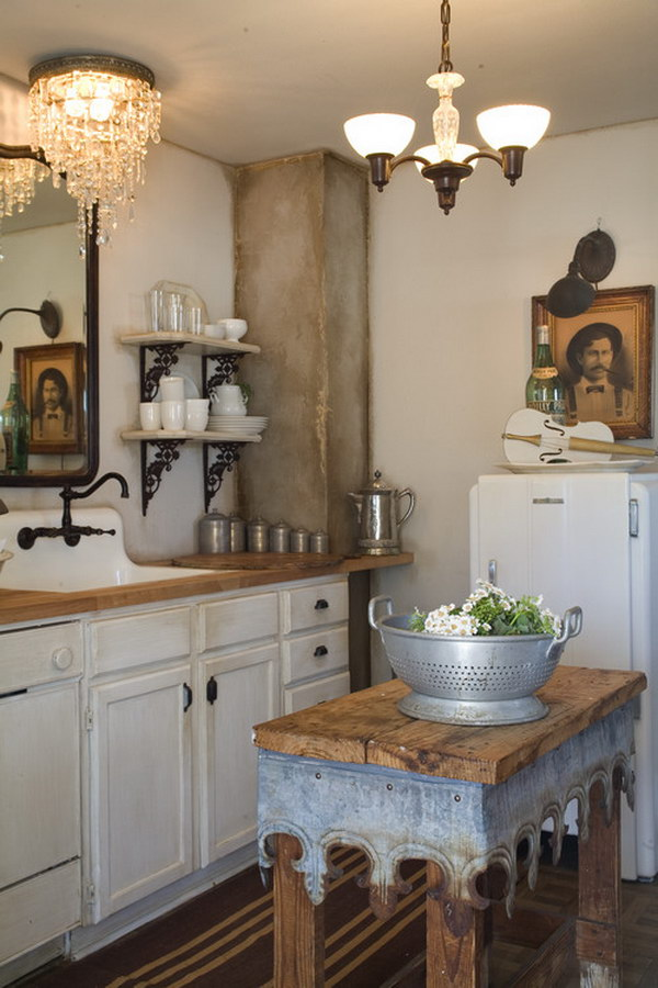 Rustic Shabby Chic Kitchen with Chandelier and Wood Island.