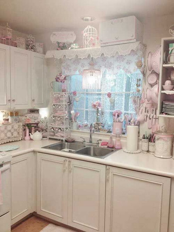White and Pink Shabby Chic Kitchen with Floral Window Treatment.