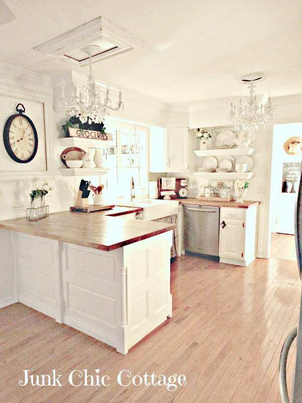 Rustic Chic White Kitchen with Open Shelving.