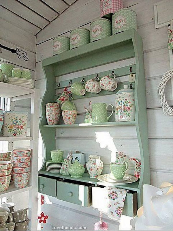 Awesome shabby chic kitchen designs for Mensole shabby ikea