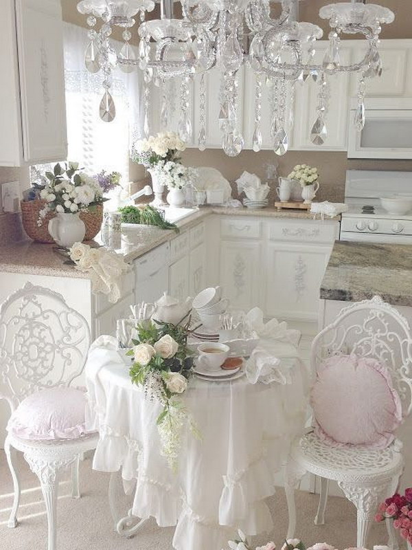 Romantic Shabby Chic Kitchen with Gorgeous Chandelier.