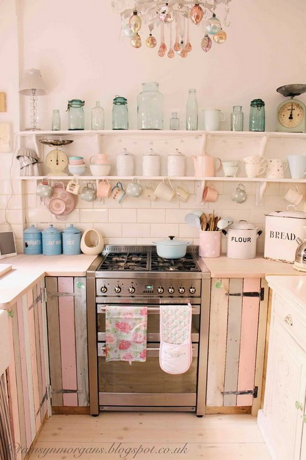 Shabby Chic Kitchen Design Ideas Part - 38: Pastel Pallet Cabinet Doors And Open Shelving