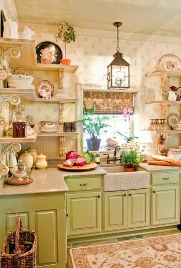 Green Cabinets and Open Shelving with Beautiful Wallpaper.
