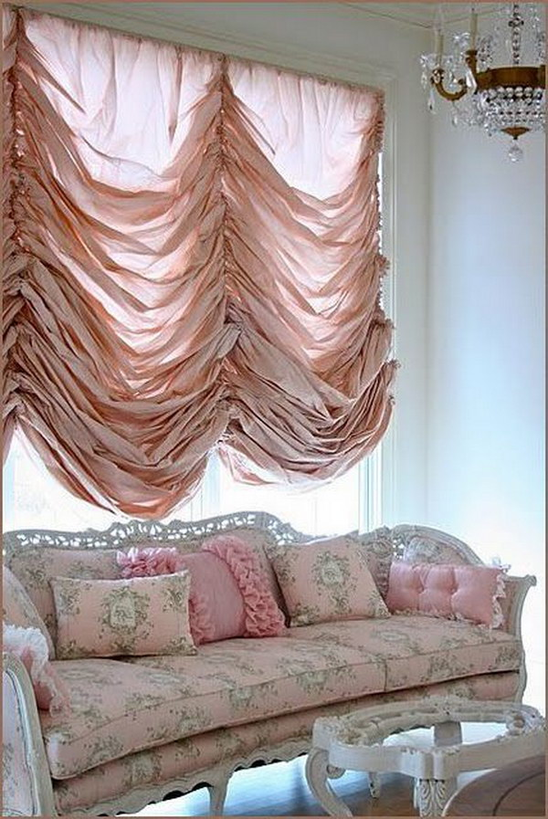 Shabby Chic Living Room with Blush Pink Draping Curtain Idea