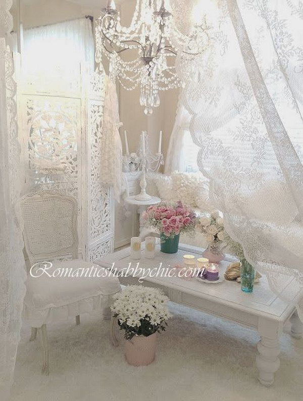 Romantic shabby chic living room ideas for Ameublement shabby chic