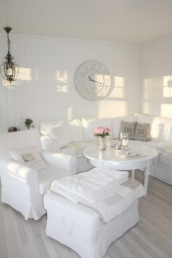 White Plank Wall with Vintage Clock Decoration