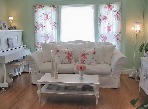 Delicieux Light Green Shabby Chic Living Room Decor With White Furniture And Floral  Pattern Curtains