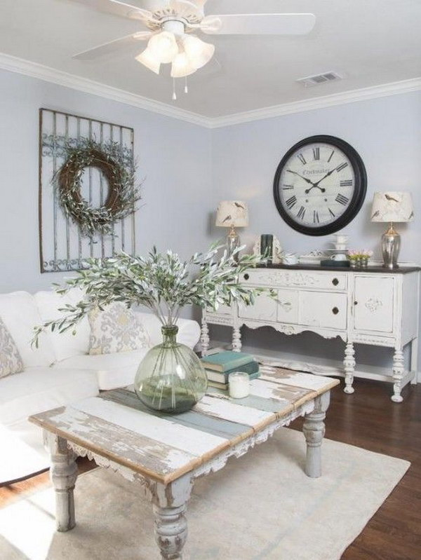 Relaxed Shabby Chic Living Room with Rustic Influences and French Accents