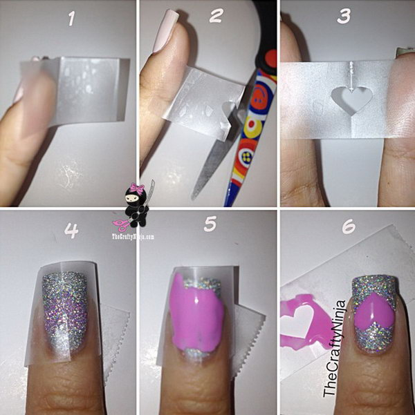 Heart Tape Nails This Is Such A Easy And Fun Mani Must Try