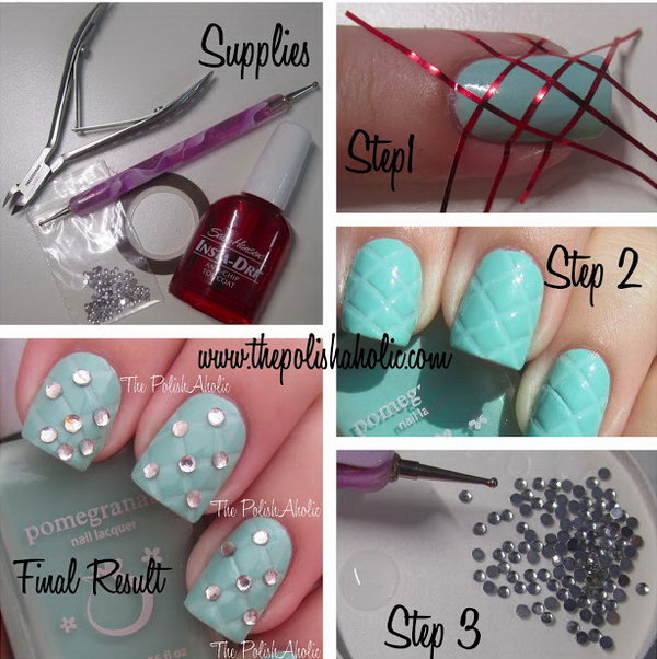 Studded Quilting Nail Art. This is such a easy and fun mani! Must try.