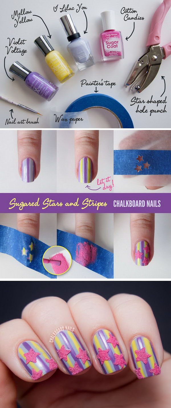 Sugared Stars and Stripes Nail Art. This is such a easy and fun mani! Must try.