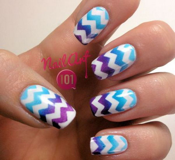Cheveron Nail Art. This is such a easy and fun mani! Must try.