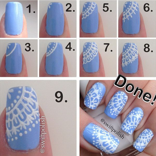 Feminine Light Blue Nails With White Snow Flakes. This is such a easy and fun mani! Must try.