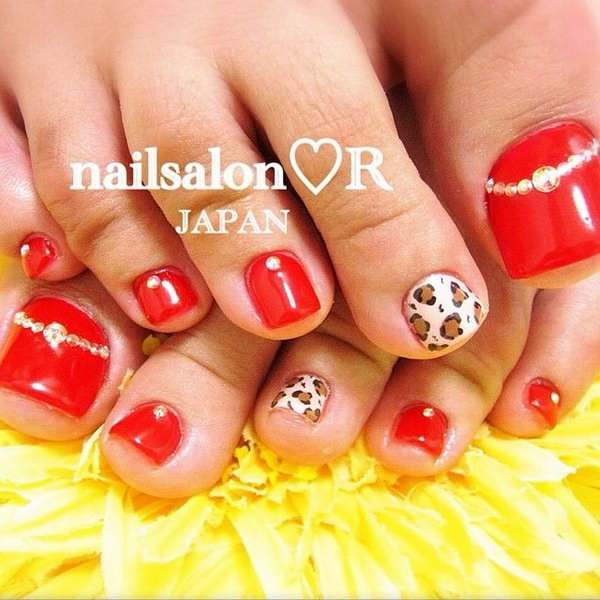 60 cute pretty toe nail art designs red base with leopard and rhinestone accented toe nails prinsesfo Gallery