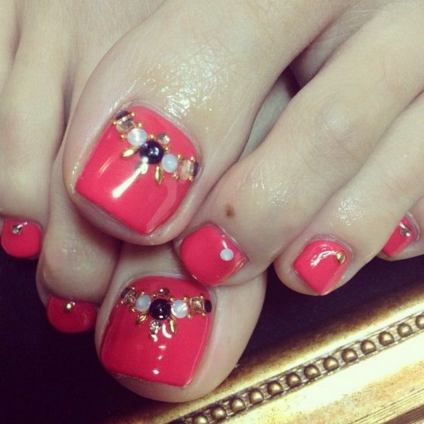 Red and Rhinestone Finished Toe Nails.