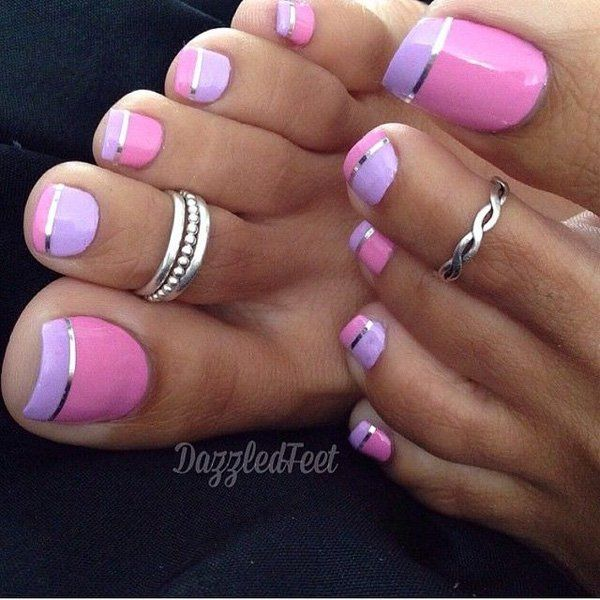 Pink, Periwinkle and Silver Colors French Tip Toe Nails.