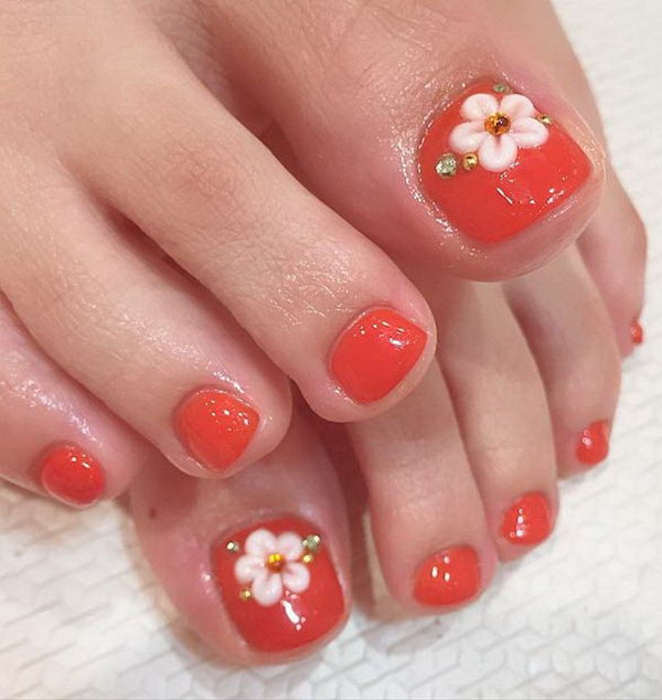 Flowers And Rinestones Accented Toe Nail Design