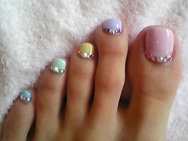 Spring ColorS Toe Nails with Silver Beads.