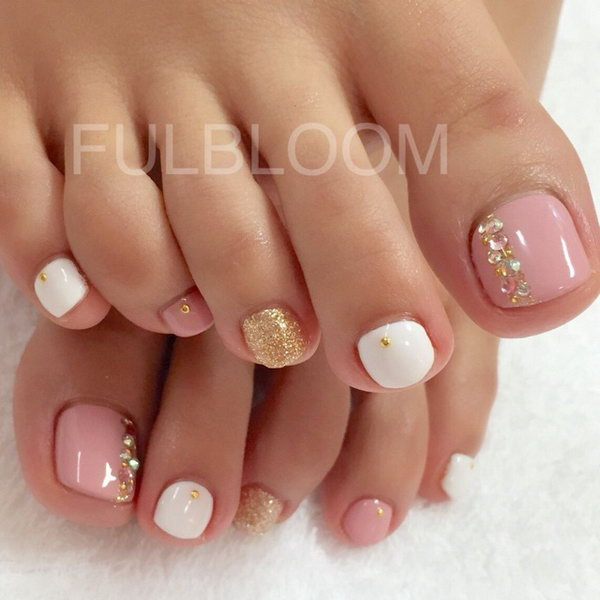 Pink and White Pedicure with Glitter and Gems. - 60 Cute & Pretty Toe Nail Art Designs