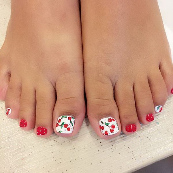 Red and White Cherry Toe Nail Design.