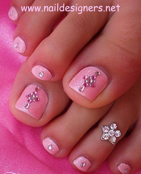 Pink Rhinestone Toe Nails