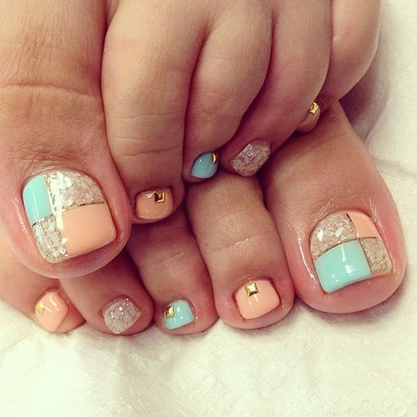 60 cute pretty toe nail art designs square shaped gold bead toe nails prinsesfo Images