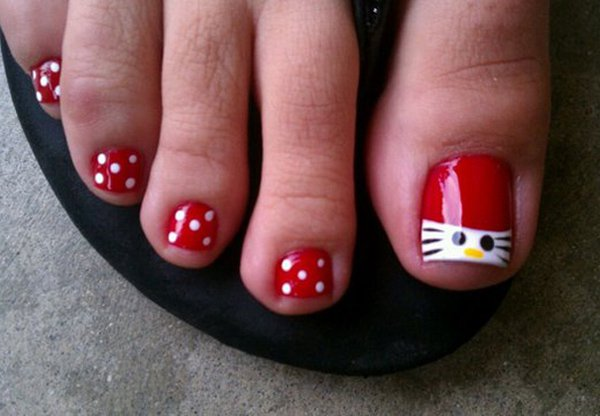 60 cute pretty toe nail art designs hello kitty toe nail designs prinsesfo Image collections