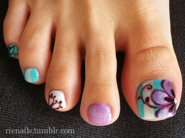 60 cute pretty toe nail art designs flower and swirl toe nails prinsesfo Choice Image