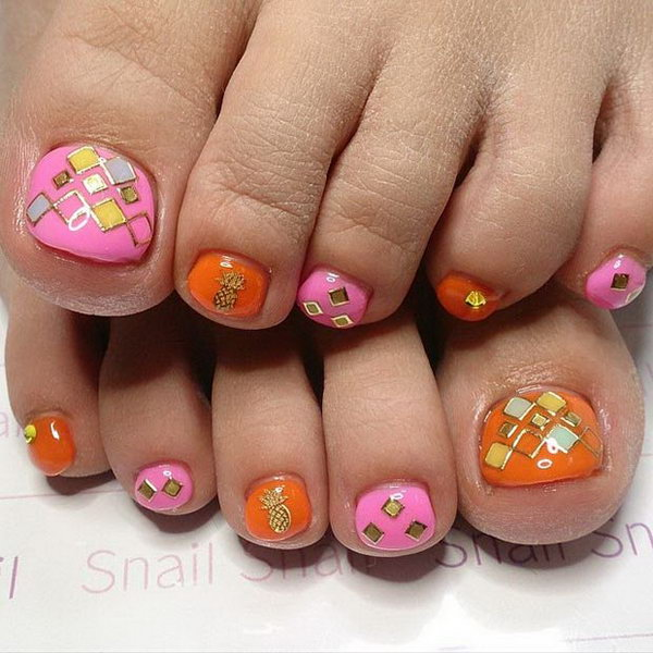 Pink, Orange and Gold Toe Nail Design.