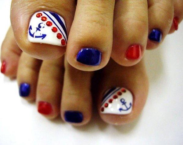 Nautical Anchor Inspired Toenail Designs - 60 Cute & Pretty Toe Nail Art Designs