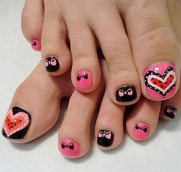 Heart and Bow Inspired Toenail Art Design.