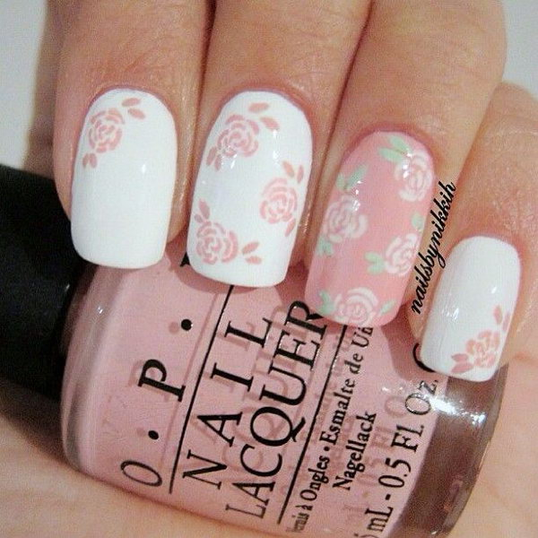 Pink and White Floral Nail Art.