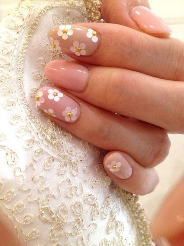 Japanese Floral And Gold Studds Nail