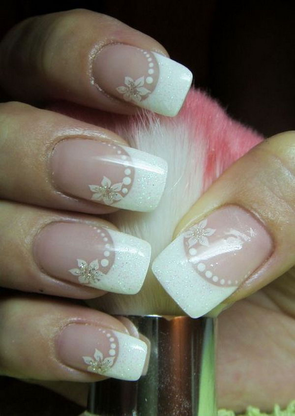 White Flower Wedding Nails.