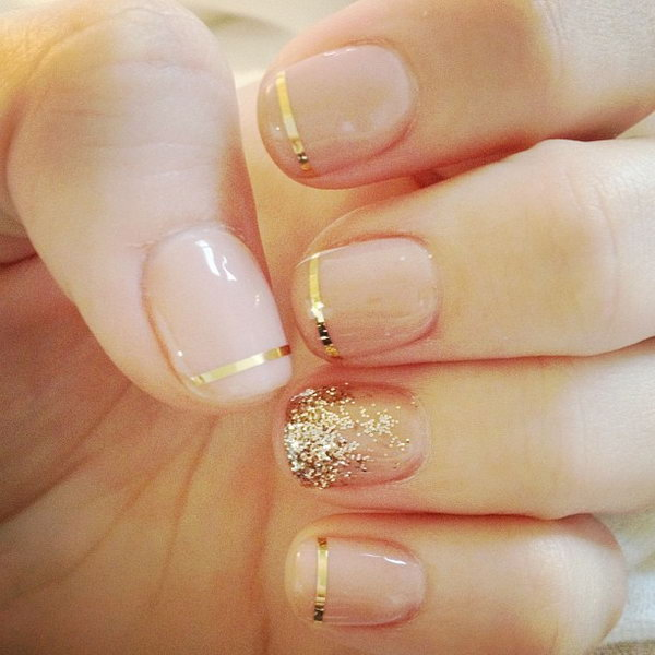 Nude and Gold Tipped Wedding Nails.
