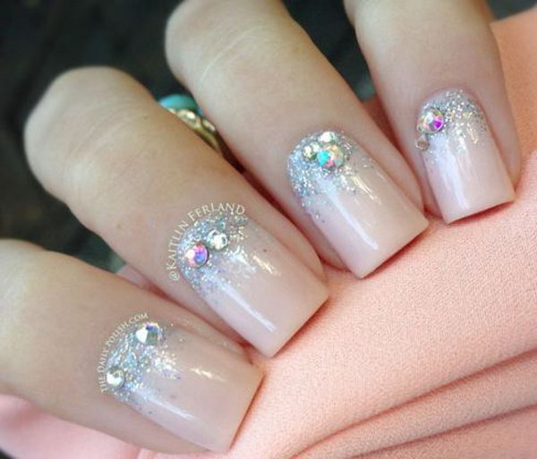 Pink Wedding Nail with Bings.