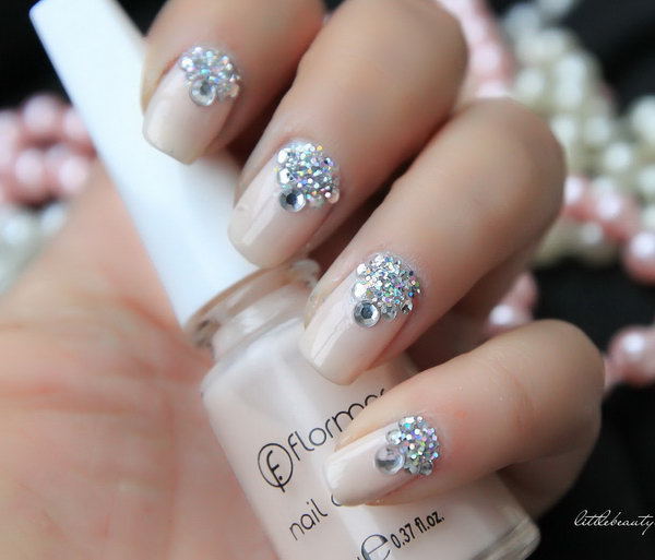 Rhinestone Wedding Nails.