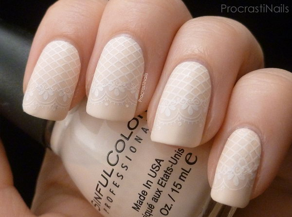 Delicate Lace Stamping Nails. See the tutorial