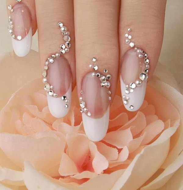 Stunning Diamond Embellished Nail Design.