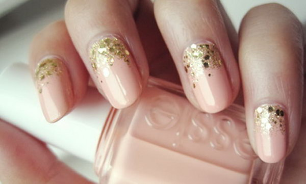 Pink Wedding Nail with Glitter.