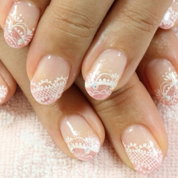 White and Pink Lace Nail.