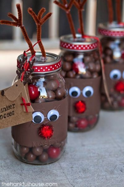 Reindeer Christmas Mason Jar With Yummy Chocolates.