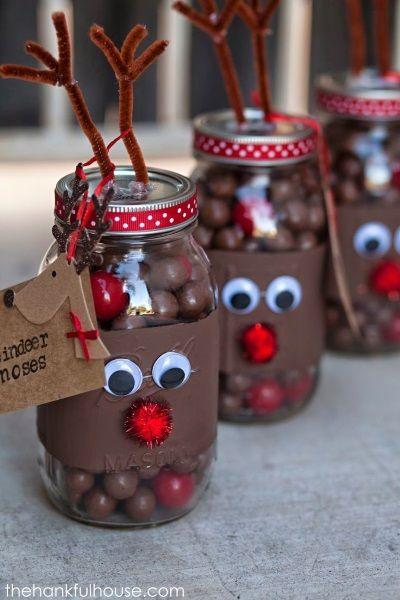 Reindeer Christmas Mason Jar With Yummy Chocolates.