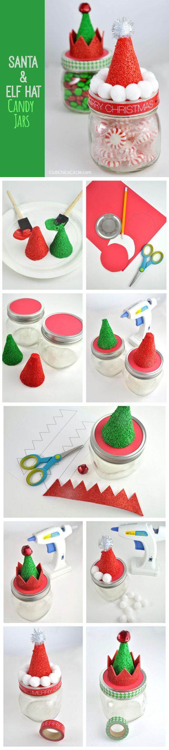 Santa and Elf Hat Candy Mason Jars.