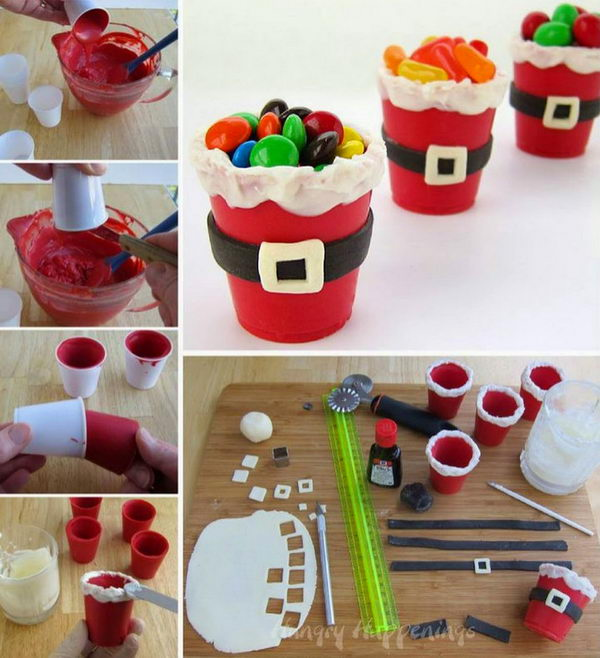 DIY Edible Santa Suit Candy Cups.