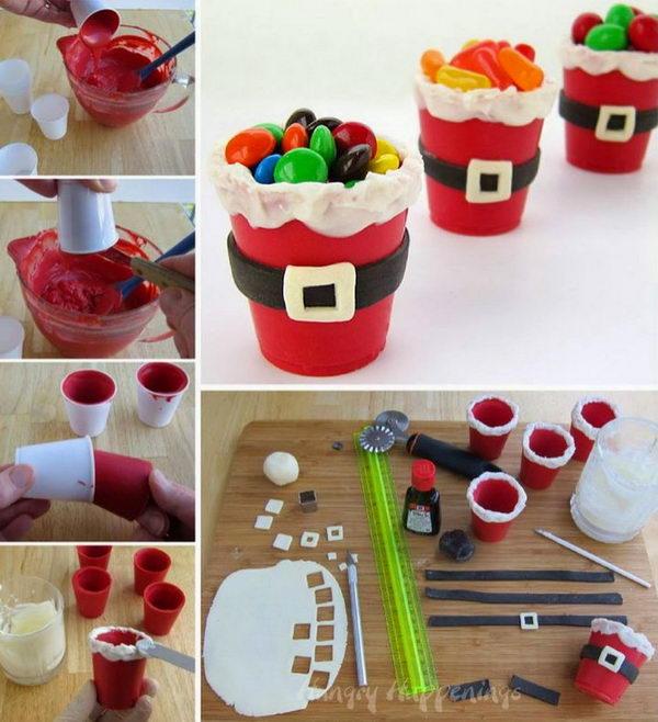 DIY Edible Santa Suit Candy Cups.